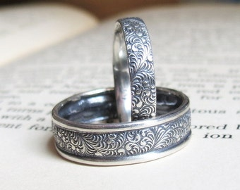 Feather Patterned Wedding Band Set Paisely Wedding Rings Sterling Silver Matching Wedding Set