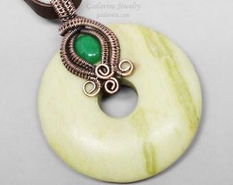 Peridot Jasper Donut, Green Aventurine and Copper Necklace Pendant