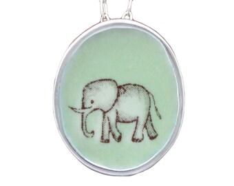 Elephant Necklace - Sterling Silver and Vitreous Enamel Elephant Pendant