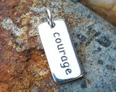 Courage Word Charm - Silver Courage Necklace