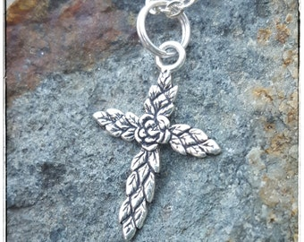 Silver Cross with Rose Charm - Small Cross for Girl - Sterling Silver Flower Cross Necklace