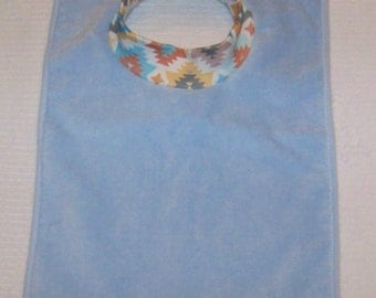 Towel Bib by PETUNIAS - absorbent washable dryable aztec organic knit baby toddler gift