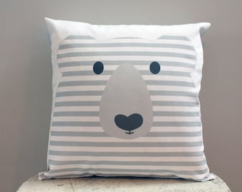 Pillow cover grey bear 18 inch 18x18 modern hipster accessory home decor nursery baby gift present zipper closure canvas ready to ship