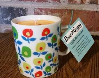 Citron and Mandarin Scented Soy Candle in Upcycled Mug