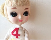 Holiday Fair Blonde Hair Big Eyed Doll Stockinette Japan - Schoolgirl No. 4