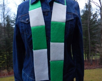 Recycled Cashmere Scarf - Green and White