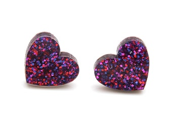 Ruby Glitter Heart Earrings Laser Cut Acrylic Valentines Jewellery Heart Studs Glitter Acrylic I Love You Purple Glitter Sparkle Earrings