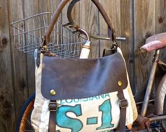 Louisiana S-1 White Clover Oregon Grown - Vintage Seed Sack Leather Satchel Bag - Americana Leather Canvas & Leather Bag... Selina Vaughans