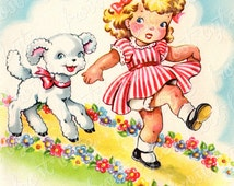 Girl with Lamb Vintage Image  - Mary had a little lamb - 50s greeting card - digital file for instant download