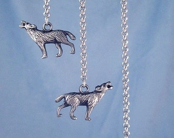 Black Wolf 3D Earrings Long Chain Animal Jewelry 316L Stainless Steel Long Rolo Chain Full Moon Wolves Protection Totem Black Silver Charms