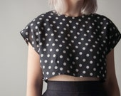 aviator's wife polka dot crop top / cropped blouse / cap slv / s / m / 1401t