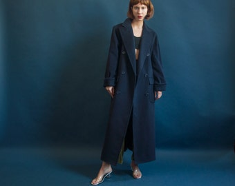 RALPH LAUREN navy blue wool overcoat / oversized structured coat / minimalist winter coat / s / 2034o / R3