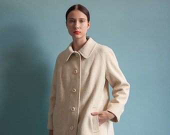 cream wool short coat / 60s wool winter jacket / minimalist coat / s / 2039o