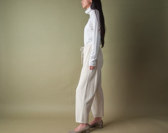 cream heather cropped knit trousers / drawstring trousers / cotton lounge pants / s / 1292t