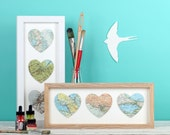 Three Map Location Hearts Print - wedding gift - anniversary gift for wife - gift for traveller - personalised bombus map gift