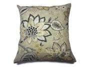 RESERVED FOR V.K. Decorative Pillow Cover Modern Floral Honey Black Gray White Ivory Yellow Khaki Back Toss Accent Throw 18x18 inch x