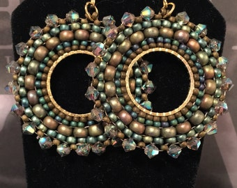 Small Beaded Hoop Earrings Green Autumn Goddess Seed Bead and Crystal Statement Jewelry