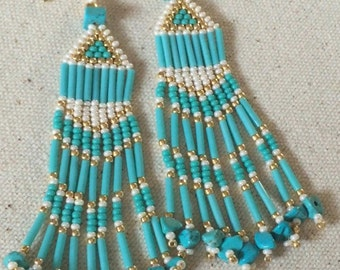 Long Earrings Turquoise Gold and Cream Fringe Earrings Wedding Prom  Jewelry Special Occasion Chandelier Earrings