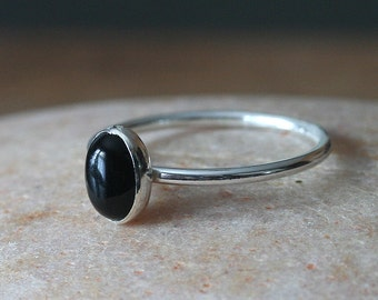 Oval Black Onyx Stacking Ring 6x8 mm Sterling Silver, Size 2 to 15, Stackable Ring, Stacker Ring, Womens Ring, Gift for Her, Scandinavian