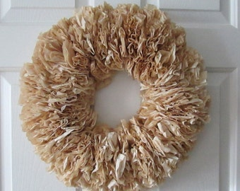 "Rustic Dyed Coffee Filter Wreath, Rustic Wedding, Decor, Round 17"" Brown, Neutral, Natural"