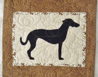 Greyhound  - Quilted Dog throw pillow 16 inches