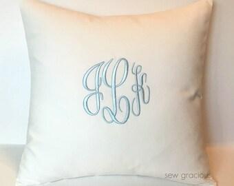 Custom Monogram Pillow Cover 18 x 18. Wedding Day Gift. Couples Monogram Throw Pillow. Cottage Chic Charm. Farmhouse Decor. SewGracious.