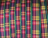 "Morex Buchanan Plaid Edinburgh Plaid Polyester Tartan Ribbon - Green, Yellow, Red, Blue, White - 3/8"" wide - One or 5 Yards"