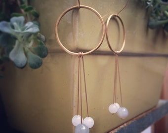 Cluster Brass hoop earrings with Agate dangles