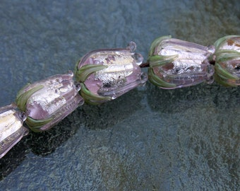 Lampwork Glass Set of Light Pink and Silver Rose Buds