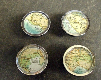Map Drawer Pulls Italy Cities  1 set of 4 Vintage Atlas Rome Milan Firenze Venice Shipped Free in the US