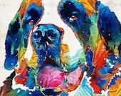 Saint Bernard Art PRINT Colorful Dog Animal Rainbow Pet Primary Color Funny St. Doggies Daycare Cute Big Large Breed CANVAS Veterinarian