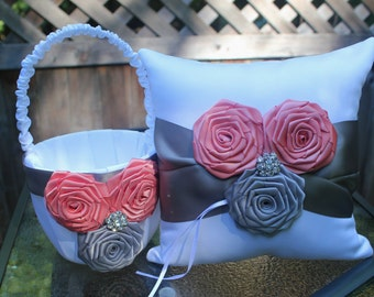 White/Ivory Satin Flower Girl Basket and Pillow Coral/Gray/Silver Satin Rolled Ribbon Flowers-Gray Satin Ribbon-Rhinestones-Custom Colors