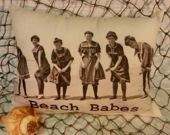 Vintage Inspired Victorian Beach Babes Pillow, Beach Decor, Nautical Pillow, Coastal Chic Pillow,