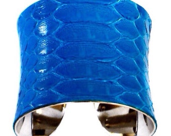 Bright Blue Snakeskin Cuff Bracelet - by UNEARTHED