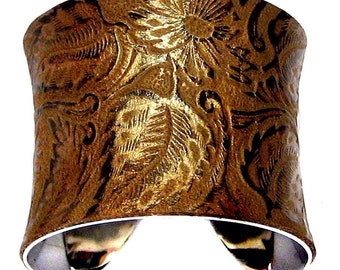 Gold Dusted Neo Victorian Leather Cuff - by UNEARTHED