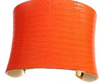 Neon Orange Lizard Leather Cuff Bracelet - by UNEARTHED