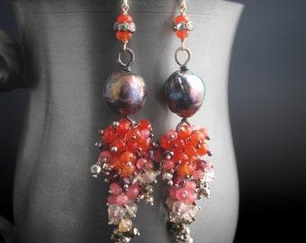 Long Kasumi Pearl Post Earrings with Marcasite, Carnelian, Rhodochrosite, Pyrite, Bohemian Garnet