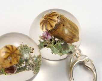 Moss, Poppy Head and Heather Round Earrings, Forest Jewelry with Moss and Heather Embedded in Clear Resin