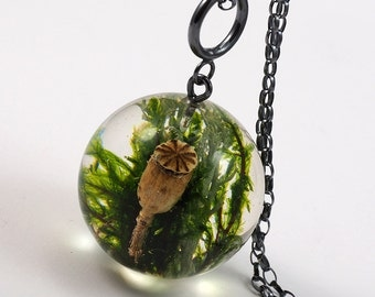 Green Moss and Poppyhead mix Pendant, Large Resin Round with Sterling Silver Chain, Moss Sphere