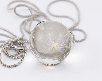 Necklace with a small Dandelion and Zirconia, Sterling Silver Necklace, Resin Jewellery