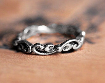 Boho wedding ring, white gold wedding band women, unique wedding bands for women, 14k white gold wedding band, water swirl ring, custom