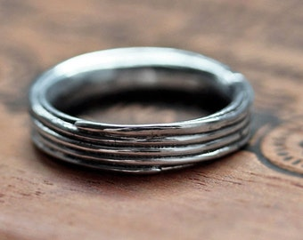 Mens silver wedding band, mens silver ring, mens wedding ring, mens wedding band silver, silver mens ring, coil ring, pirouette, custom