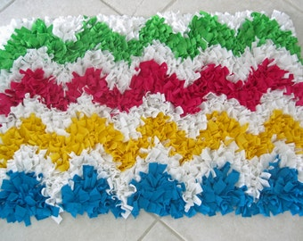 Custom Multi Colored Chevron Cotton Shag Rug
