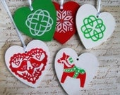 RESERVED FOR JSORORKE - Hand-painted Celtic & Swedish heart ornaments