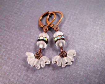Ruffle Blossom Earrings, Frosty White Flowers and Rhinestones, Copper Dangle Earrings, FREE Shipping U.S.