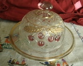 Antique - Early American - Northwood - Pressed Glass - Butter Dish - Lid - Cherries - Gold - More Northwood Listed!