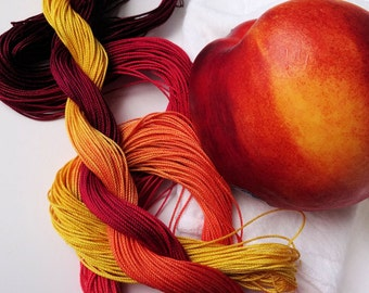 "Size 10 ""Nectarine"" hand dyed thread 6 cord cordonnet tatting crochet cotton"
