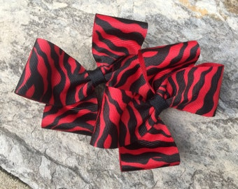 Red Zebra Striped Hair Bows,Pigtail Hair Bows,French Barrettes,Zebra Bows