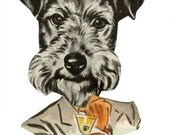 Bar Artwork Original Collage Art on Paper Funny Dog Artwork Humorous Wall Art Anthro Dog Portrait