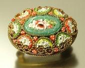 Vintage/ estate 1940s/ 50s Italian gilt metal & Micro Mosaic, flower sweetheart costume brooch pin - jewelry jewellery